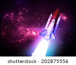 rocket against starry... | Shutterstock . vector #202875556