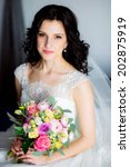 young attractive bride with... | Shutterstock . vector #202875919