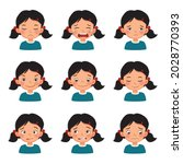 cute little girl with facial...   Shutterstock .eps vector #2028770393