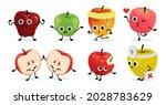 apple characters. cartoon fruit ... | Shutterstock .eps vector #2028783629