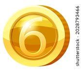 gold medal coin number 6 symbol....