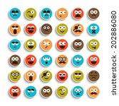 set of emotion smiling faces...   Shutterstock .eps vector #202886080
