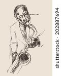 jazz concept  man playing the... | Shutterstock .eps vector #202887694