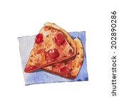pizza  watercolor painting | Shutterstock . vector #202890286