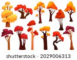 colorful autumn trees  flat... | Shutterstock .eps vector #2029006313