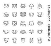 Set of Outline Stroke Animal Icons Vector Illustration