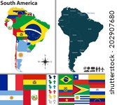 vector map of south america... | Shutterstock .eps vector #202907680
