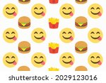 face savouring delicious food... | Shutterstock .eps vector #2029123016