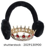 Fuzzy Ear Muffs And Crown To...