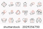 charity line icon set.... | Shutterstock .eps vector #2029256750