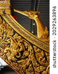 Small photo of Bangkoko, Thailand, 24 september 2019 - The royal barge is maintained in Royal Barges Museum in Bangkok. The royal barges are reserved for auspicious ceremonies and state occasions only