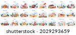 people cooking and preparing...   Shutterstock .eps vector #2029293659
