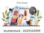 photo studio. students lerning... | Shutterstock .eps vector #2029310909