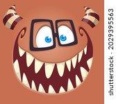 funny cartoon nerd monster face ... | Shutterstock .eps vector #2029395563