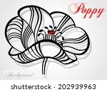 decorative poppy flower on grey ... | Shutterstock .eps vector #202939963