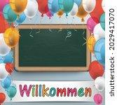 german text willkommen ...   Shutterstock .eps vector #2029417070