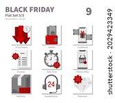 black friday icons set  flat ...