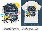 bison and mountains tattoo.... | Shutterstock .eps vector #2029458869