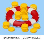 isometric stacked coins in red...   Shutterstock .eps vector #2029460663