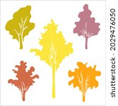 set of autumn trees. colorful... | Shutterstock .eps vector #2029476050