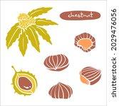 chestnut. colorful paper cut... | Shutterstock .eps vector #2029476056