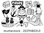 Set Of Black And White Pirate...