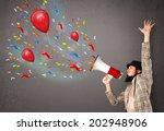 young guy having fun  shouting... | Shutterstock . vector #202948906