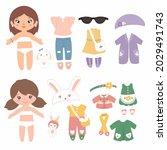 a set with cartoon girls paper...   Shutterstock .eps vector #2029491743