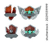 defeat victory game badge...
