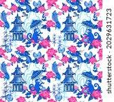 pagodas  monkeys  birds ...   Shutterstock .eps vector #2029631723
