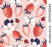 strawberries  flowers ...   Shutterstock . vector #2029638266