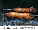Pig roasted on a barbecue spit. ...