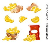 potato chips set. vector  | Shutterstock .eps vector #202970410