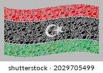 mosaic waving libya flag... | Shutterstock .eps vector #2029705499