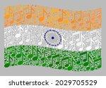 mosaic waving india flag... | Shutterstock .eps vector #2029705529