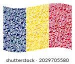 mosaic waving chad flag... | Shutterstock .eps vector #2029705580