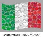 mosaic waving italy flag... | Shutterstock .eps vector #2029740920