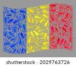 mosaic waving romania flag... | Shutterstock .eps vector #2029763726