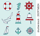 pattern with nautical elements. ... | Shutterstock .eps vector #202976824
