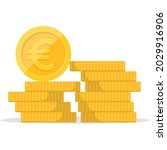 stack of coins. pile of gold... | Shutterstock .eps vector #2029916906