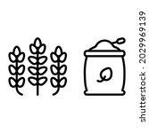 wheat and harvest bag icon with ...