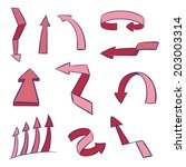 set of red sketchy arrows | Shutterstock .eps vector #203003314