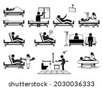 patient at hospital room with... | Shutterstock .eps vector #2030036333