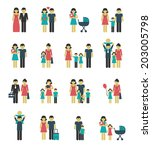 family figures icons set of... | Shutterstock .eps vector #203005798