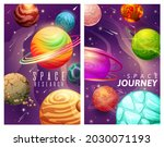 cartoon space planets and stars ... | Shutterstock .eps vector #2030071193