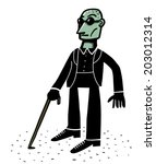 blind man with walking stick | Shutterstock .eps vector #203012314