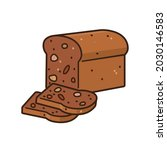 loaf and slices of whole grain... | Shutterstock .eps vector #2030146583