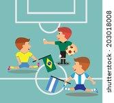 brazil and argentina soccer... | Shutterstock .eps vector #203018008