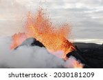 Close Up To A Volcanic Eruption ...