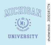 michigan college varsity slogan ...   Shutterstock .eps vector #2030181776